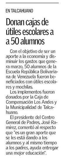 En Talcahuano donan 50 cajas de útiles escolares